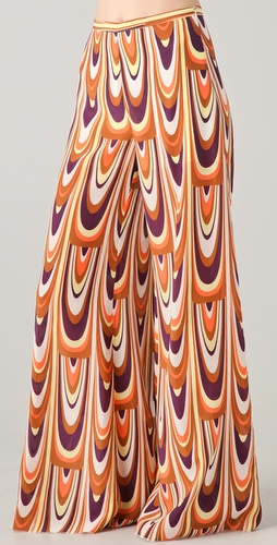 M Missoni Wide Leg Print Silk Pants