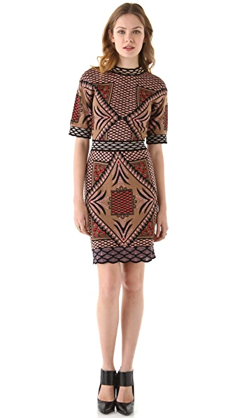 M Missoni Diamond Intarsia Short Sleeve Dress