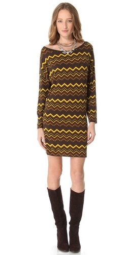 Shop M Missoni Zigzag Long Sleeve Dress and M Missoni online - Apparel,Womens,Dresses,Day_to_Night, online Store