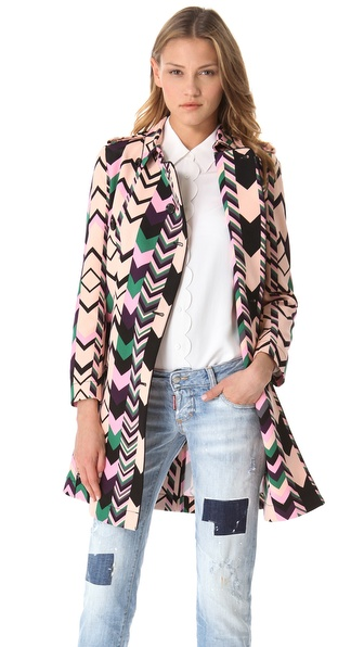 M Missoni Zigzag Trench Coat