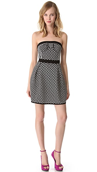 M Missoni Checkerboard Strapless Dress