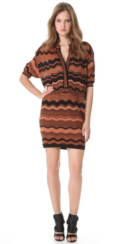 M Missoni Zigzag Wave Stripe Belted Dress
