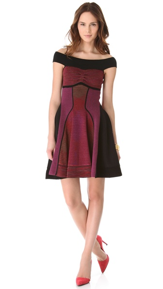 M Missoni Horizon Stripe Off the Shoulder Dress