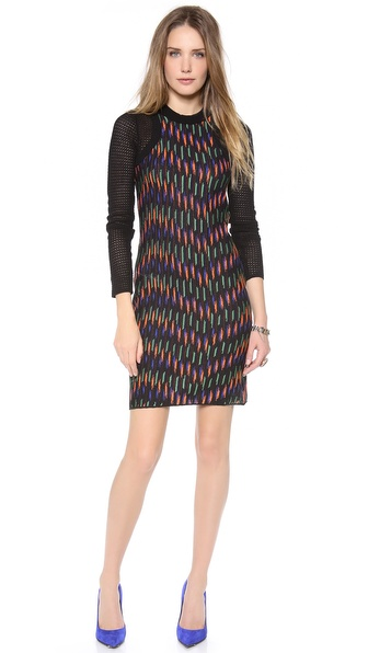 M Missoni Broken Zig Zag Contrast Sleeve Dress