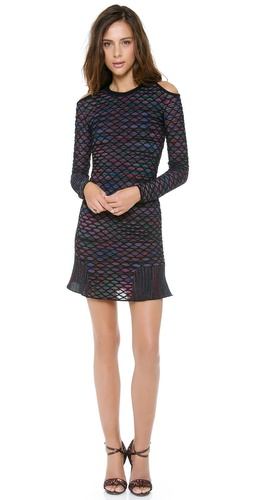 M Missoni Diamond Knit Open Shoulder Dress