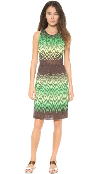 M Missoni Sheer Intarsia Zigzag Dress