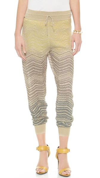 M Missoni Metallic Ripple Knit Pants