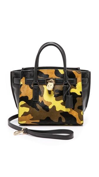 MICHAEL Michael Kors Printed Hamilton Medium Traveler Bag with Haircalf