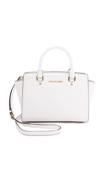 MICHAEL Michael Kors Patent Selma Medium Top Zip Satchel
