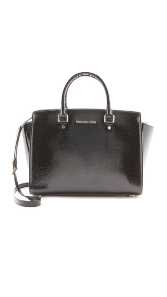 MICHAEL Michael Kors Patent Selma Large Top Zip Satchel