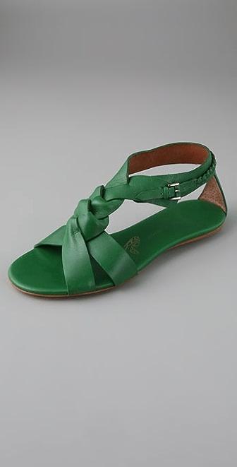 Modern Vintage Shoes Fatima T Strap Flat Sandals