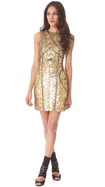 Monique Lhuillier Leather Armor Sheath Dress