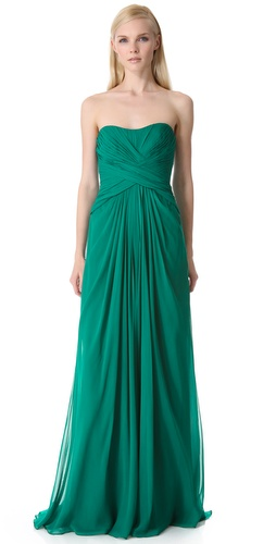 Monique Lhuillier Strapless Gown with Crisscross Bodice