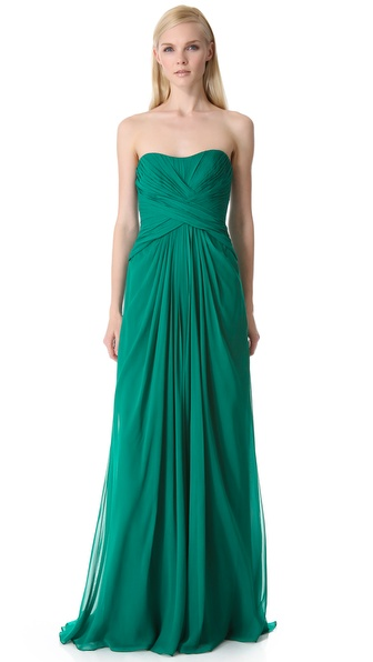 Monique Lhuillier Strapless Gown with Crisscross Bodice