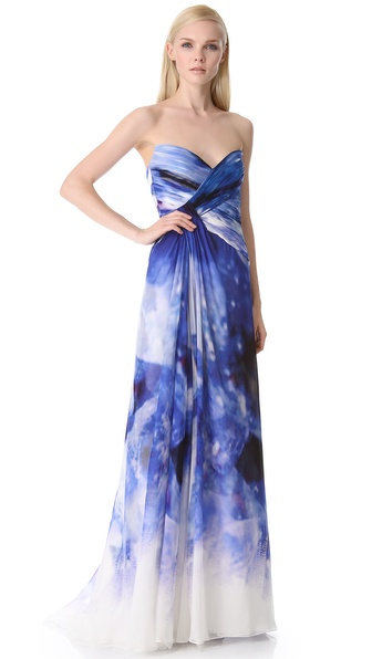 Monique Lhuillier Strapless Ruched Gown
