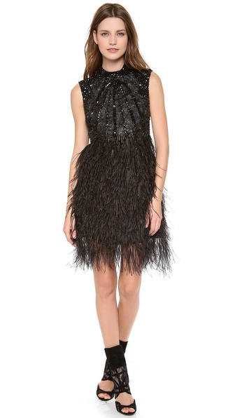 Monique Lhuillier Illusion Back Cocktail Dress