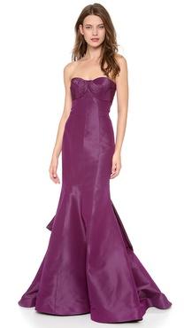Monique Lhuillier Strapless Draped Gown