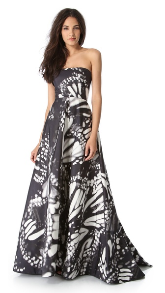 Monique Lhuillier Butterfly Strapless Gown