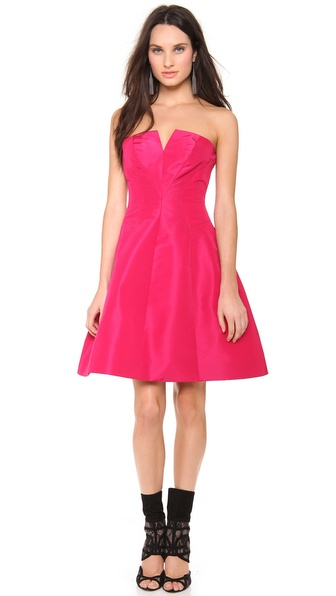 Monique Lhuillier Strapless A Line Dress