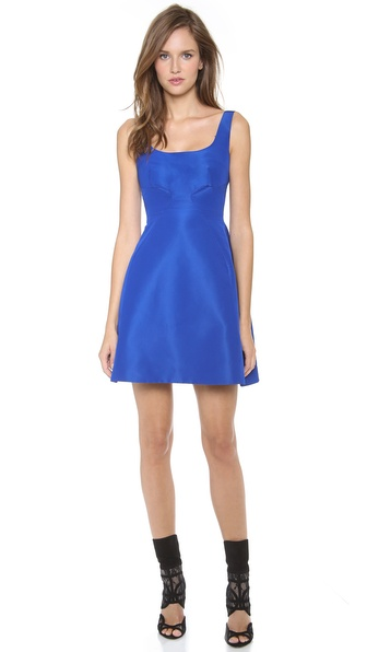 Monique Lhuillier Silk Structured Dress with Wide Neckline