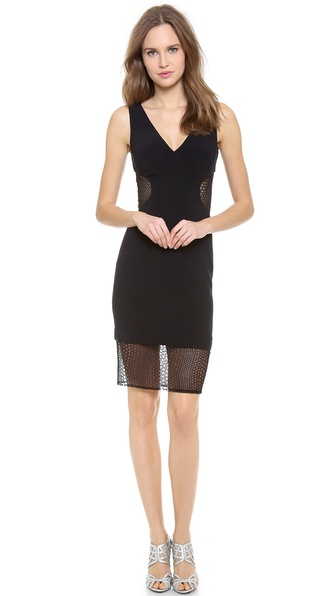 Monique Lhuillier Seamed Dress with Lace Insets