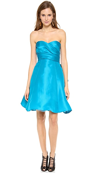Monique Lhuillier Strapless Draped Bodice Dress