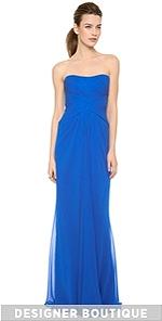 Strapless Strapless Strapless Draped Gown With Front Slit (Multicolor)