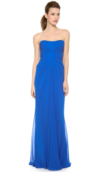 Monique Lhuillier Strapless Draped Gown with Front Slit