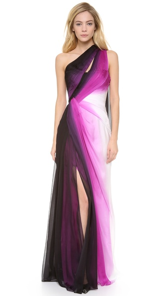 Monique Lhuillier One Shoulder Gown with Side Slit