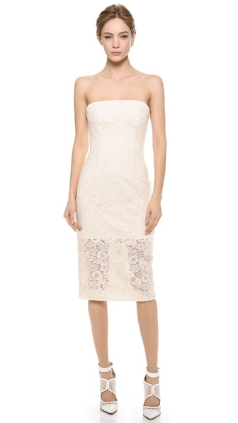 Monique Lhuillier Strapless Lace Dress