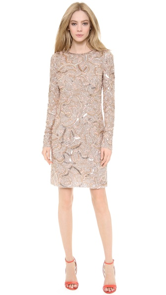 Monique Lhuillier Long Sleeve Dress - Rose Gold