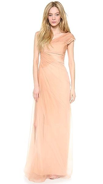 Monique Lhuillier Asymmetric Draped Gown