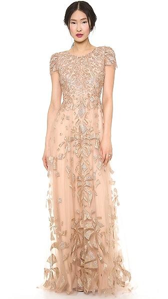 Monique Lhuillier Cap Sleeve Gown