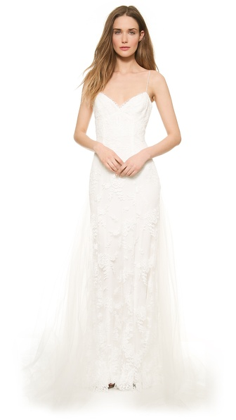 Monique Lhuillier Sienna Chantilly Lace Gown
