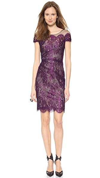 Monique Lhuillier Illusion Chantilly Lace Dress