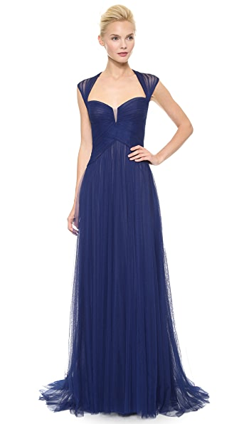 Monique Lhuillier Draped Cap Sleeve Gown
