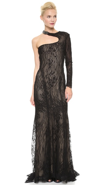 Monique Lhuillier Cutout One Shoulder Gown