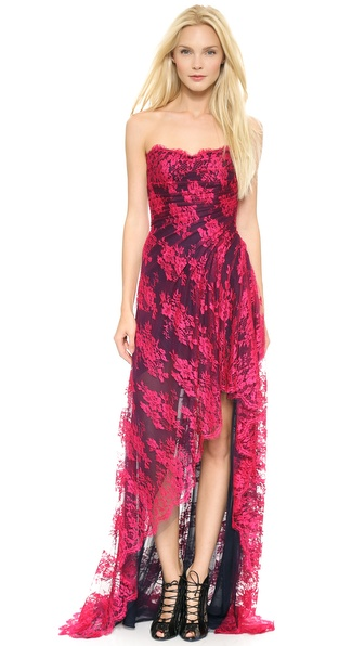 Monique Lhuillier Strapless High Low Gown with Slit