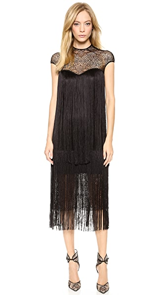 Monique Lhuillier Geometric Lace Dress