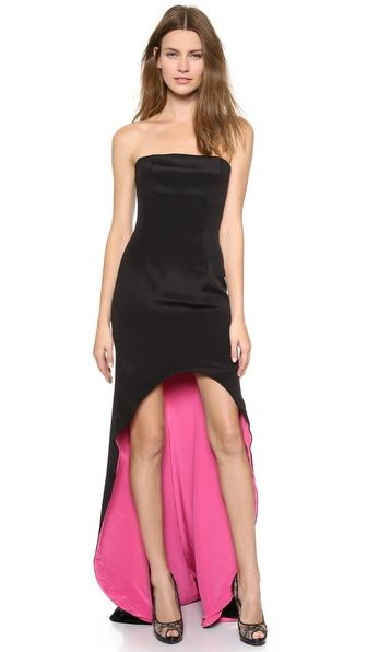 Kupi Monique Lhuillier haljinu online i raspordaja za kupiti Monique Lhuillier Strapless Gown With Contrast Lining Noir online
