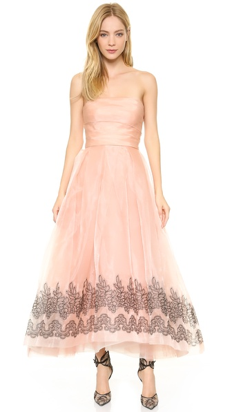 Monique Lhuillier Strapless Gown With Ruched Bodice - Blush