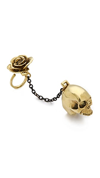Monserat De Lucca Skull & Rose 2 Finger Ring