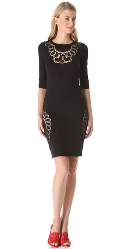 Shop Moschino Eyelet Cutout Knit Dress and Moschino online - Apparel,Womens,Dresses,Day, online Store