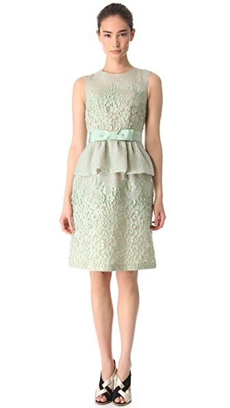 Moschino Sleeveless Peplum Dress with Bow