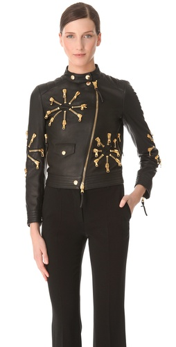 Moschino Leather Jacket with Zip Detail at Shopbop.com