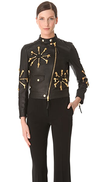 Moschino Leather Jacket with Zip Detail