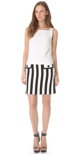 Moschino Crepe Tank Dress with Drop Waist