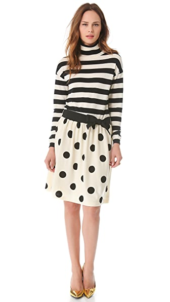 Moschino Stripe & Dot Sweater Dress