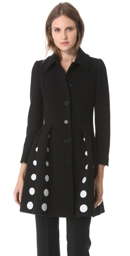 Moschino Pleated Polka Dot Coat