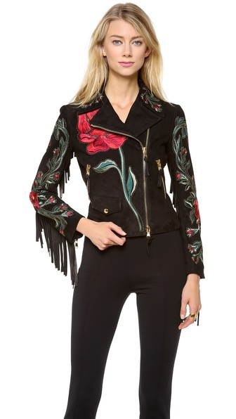 Moschino Suede Rose Fringe Jacket
